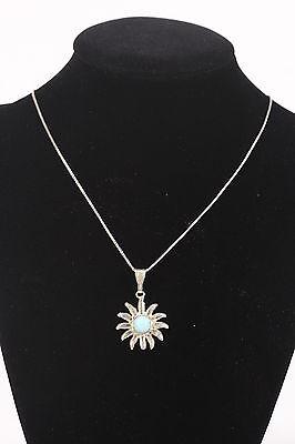 925 Necklace Sterling Silver Box Chain, Bail, Sun Pendant W Aqua Turquoise Stone