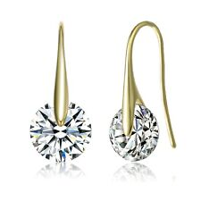 Rozzato .925 Silver 14K Gold Plated Clear Round CZ Fish Hook Earrings