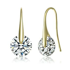 Rozzato-925-Silver-14K-Gold-Plated-Clear-Round-CZ-Fish-Hook-Earrings