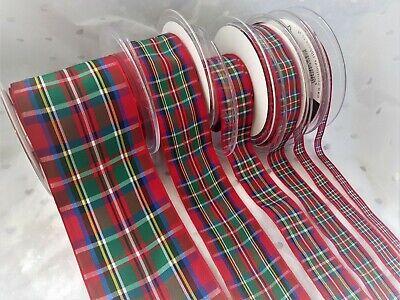 Berisfords FLOWER OF SCOTLAND Tartan ribbon Scottish Approved Design  7mm 40mm