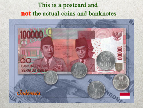 Banknote Indonesia Circulating Coins and Currency 2013 Postcard