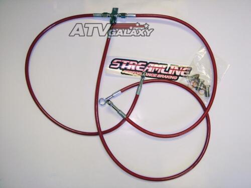 "Streamline Steel Braided Front Brake Lines 2/"" Red Yamaha YFZ450 YFZ 450"