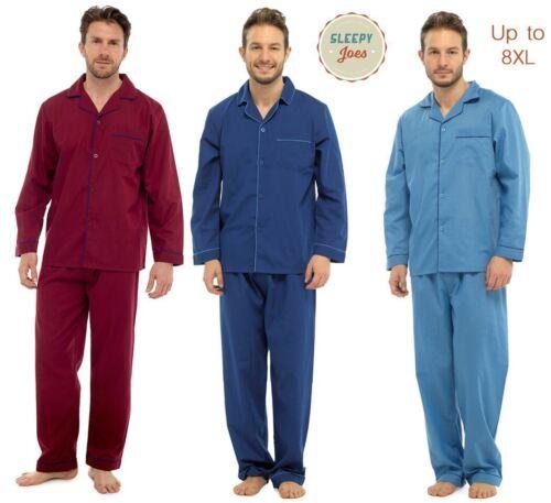Mens Pyjamas Sets Classic Plain PJs Nightwear