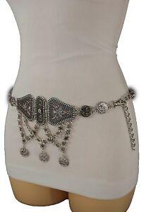 Women Silver Metal Chains Floral Ethnic Blue Charm Fashion Waist Hip Belt XS S M