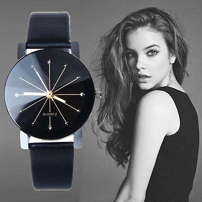Luxury WOMEN Black Stainless Steel Leather Round Dial Analog Quartz Wrist Watch