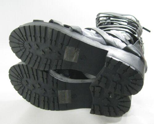 "New Black strap 2/"" Block Low Heel Back Zip Gladiator Knee sandal Size 10"