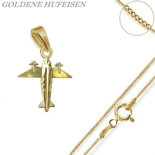 24K Vergoldet Geschenkidee Flugzeug ANHÄNGER mit KETTE  925 Echt Silber