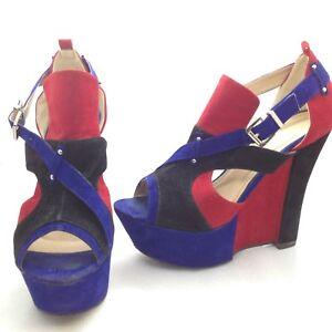 Azul Rojo Sueco Size De 8 Liliana Detalles Plataforma Negro 5 Tacones Sintético Altos 9eIWEYDH2b