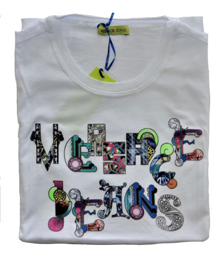 Maglia MagliettaT-Shirt Girocollo VERSACE JEANS Bianco White T-Shirt Crew Neck U