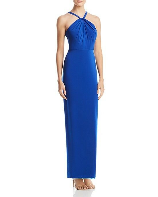 429 DECODE 1.8 damen Blau HALTER RUFFLE COLUMN RUCHED TWIST GOWN DRESS Größe 4