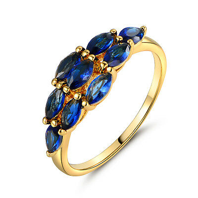 Luxury Blue Sapphire Crystal Paved 18k Gold Filled Lady Women Party Banquet Ring