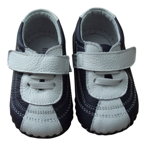 Baby Boy/'s Trainer Shoes Infant Children/'s Navy /& White Soft Sole REAL Leather