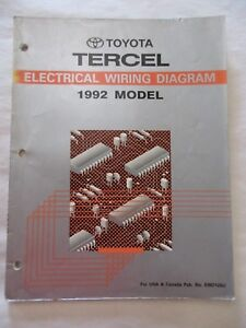 1992 toyota tercel electrical wiring diagram manual ebay rh ebay co uk