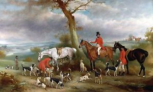 John-Ferneley-Fox-Hounds-Hunting-Horses-Dogs-antique-20-034-x12-034-Art-Print