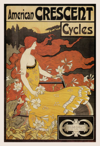 ANTIQUE BICYCLE POSTER American Crescent Bicycles Poster Art Nouveau Poster,