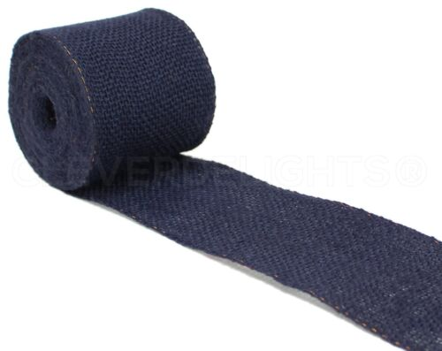 "10 Yards 4/"" Navy Burlap Ribbon Premium Jute Craft Decor Bows Wired Edge"