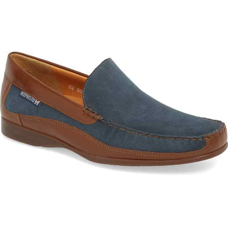 MEPHISTO MEN'S BADUARD NAVY & BROWN SLIP ON LOAFER 9M BRAND NEW