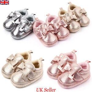 UK Infant Newborn Baby Girl Bling Crib Pram Shoes Bow Soft Sole Shoes Prewalker