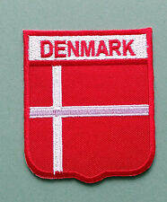 NATIONAL FLAG COUNTRY SHIELD SEW ON / IRON ON EMBROIDERED PATCH:- DENMARK