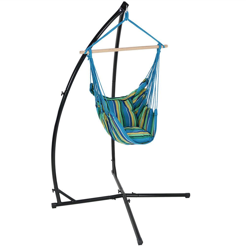 Ocean Breeze Sunnydaze Indoor-Outdoor Hammock Chair Swing and 2 Cushions