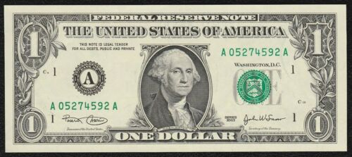 """/""""Crisp Gem New/"""" 2003 /""""Boston/"""" $1 Federal Reserve Note in Sequential order"""