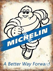 Michelin-171-A-Better-way-Forward-Tyre-Man-Vintage-Car-Large-Metal-Tin-Sign