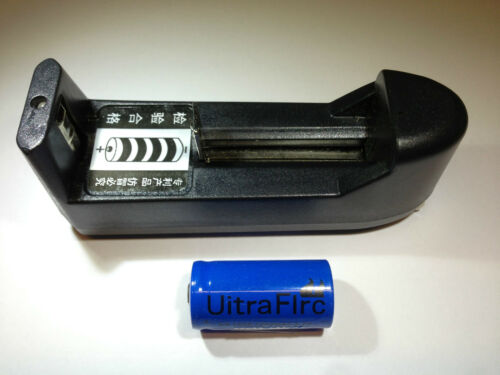 Uitra Firc CR123A 1200 mAh 3.7V Li-ion Battery and Battery Charger for Airsoft