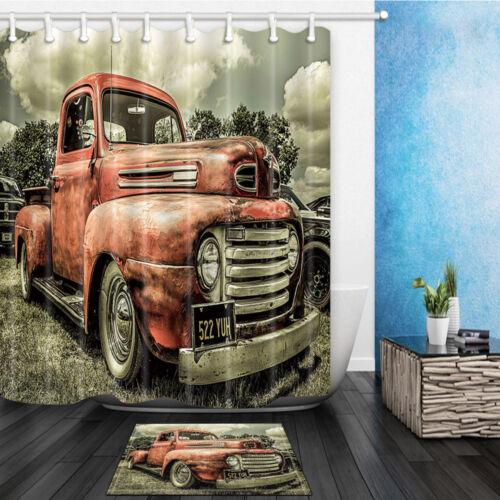 Retro truck Waterproof Polyester-Fabric Shower Curtain /& Bath Mat 180*180cm