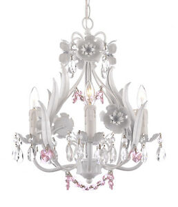 Details About Crystal Prisms Girls Room Floral Italy 4 Light Solid White Finish Chandelier