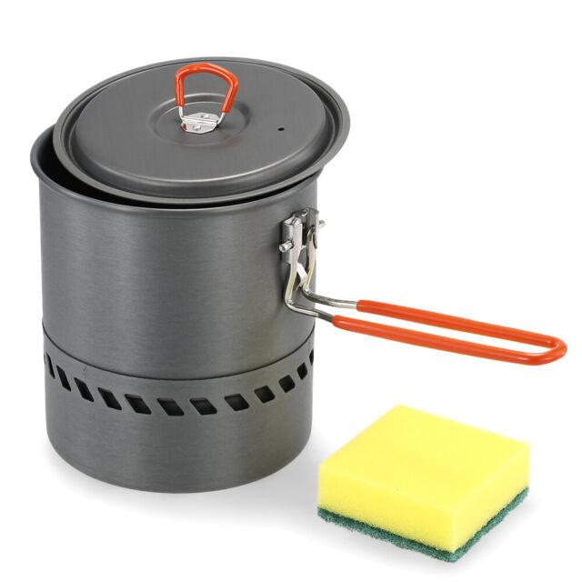 Heat Exchanger Camping Pot Outdoor Cookware Cooking Pot 1.5L
