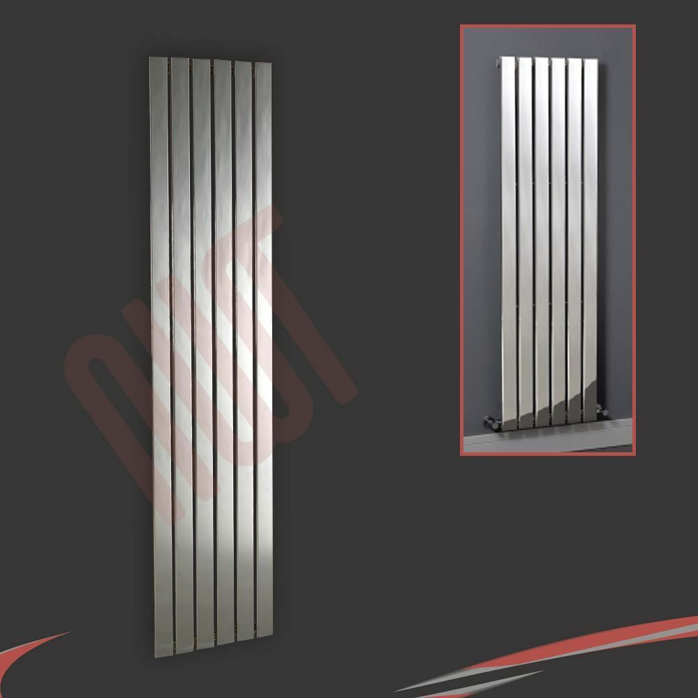 450mm(w) x 1800mm(h)  Luna  Designer Chrome Grünical Radiator 6 Flat Panels