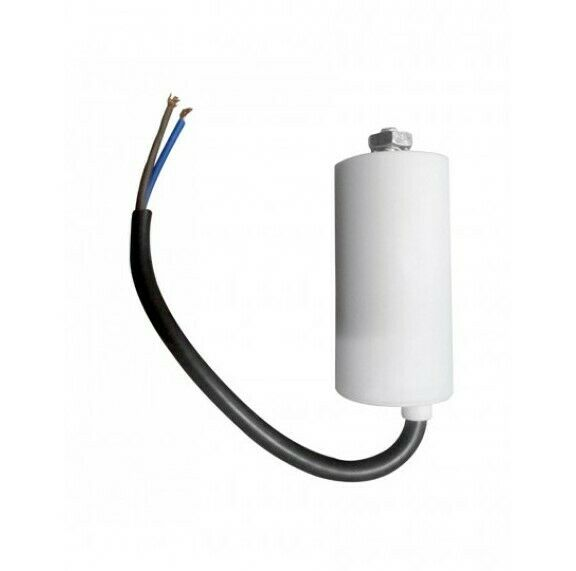 Motor Capacitor 6.3uF 450V GRD 31x58mm White with Cable Wire for Appliances