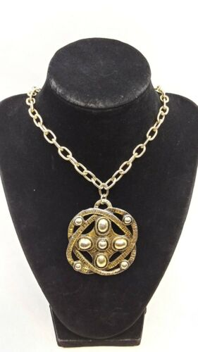 Retro 14 Karat Gold and Crystal Chandelier Necklace Hollywood Glam Ornate Pendant with Teardrops