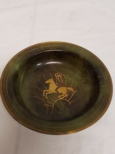 Vintage Mid Century Bronze Argentor Agte Bronce Denmark Woman On Horse Dish Bowl Art Deco Periods & Styles