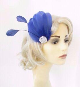 Royal Blue Silver Feather Fascinator Hair Clip Races Headpiece Vtg ... ee32d54ecc5