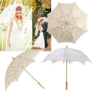 Lady Vintage Handmade Cotton Parasol Lace Floding Hand Fan Bridal Wedding Party