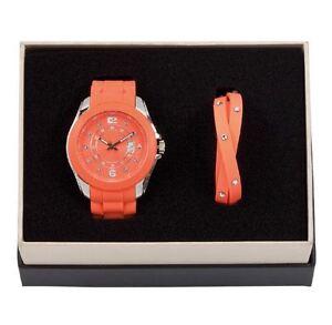 DSE-5122583-Orange-Watch-with-Bracelet-Silicone-Set-Swarovski-Crystal-Authentic