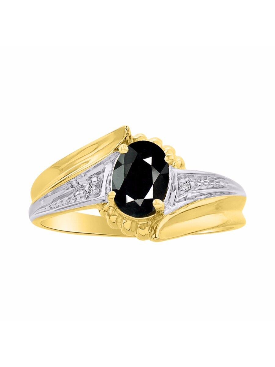Diamond & Onyx Ring Set In 14K Yellow gold - color Stone Birthstone Ring LR7071O