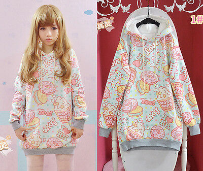 Cute Womens Lolita Doughnut Girl Kawaii Hoodie Sweater Harajuku Long Sleeve Coat
