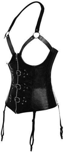 Womens PU Leather Garter Zipper Halter Corset Underbust Steampunk Bustier