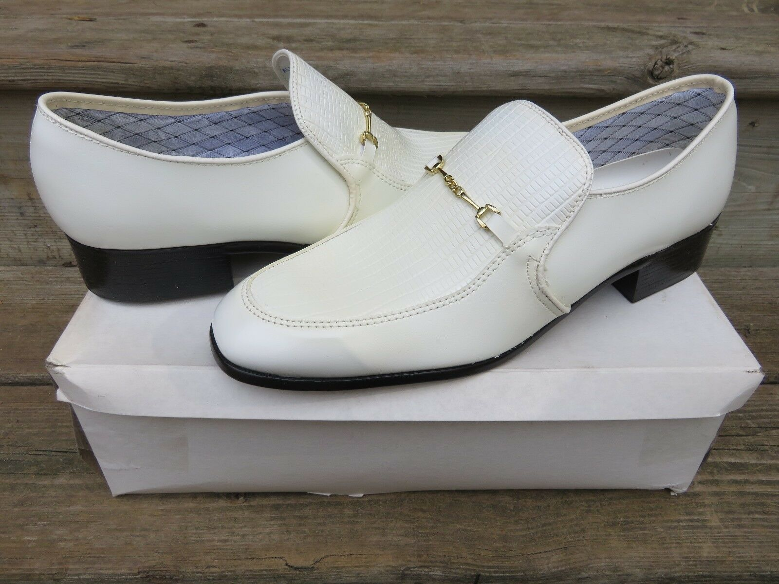 NEW JB Clasp Slip-on Loafer Dress Shoes Size 10 M New Old Stock White Leather