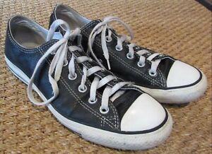 Dettagli su Converse Chuck Taylor Tutti Stella Basso Top Nero Sneakers IN Pelle - Sz 7 Uomo