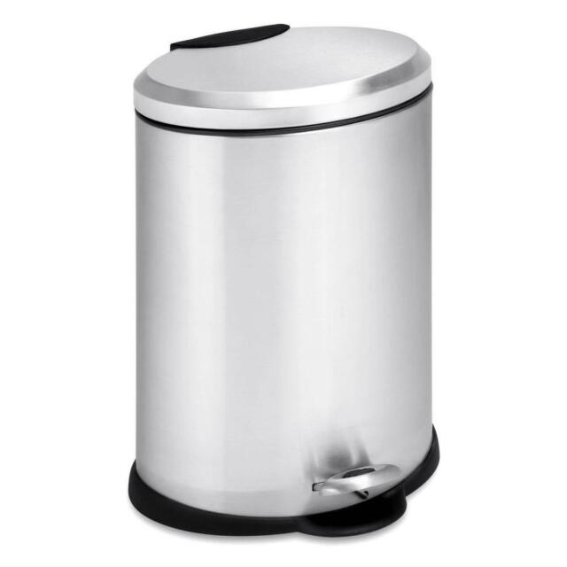 3 gal. stainless steel oval step-on touchless trash can | gallon garbage bin [id