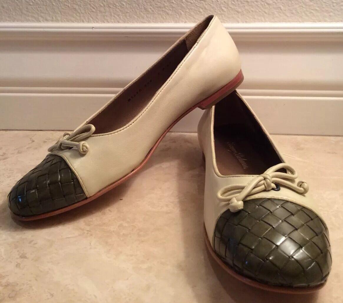 TOMMY BAHAMA Cream Green St Croix Woven Cap 8.5B Toe Leder Ballet Flat 8.5B Cap NEW BOX 90e4f8