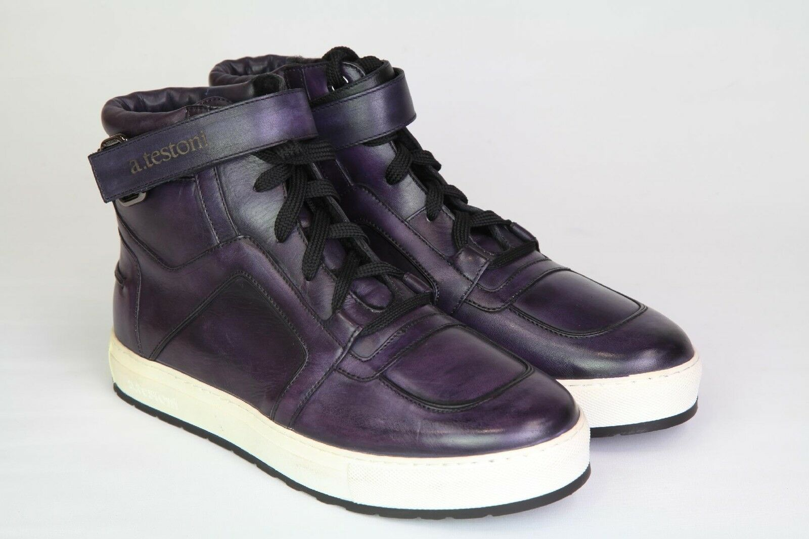 A. Testoni Para Hombres Zapatos Tenis nos altas púrpura 8 nos Tenis 42 Nuevo 6a96f5