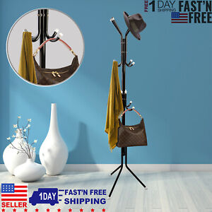 12-Hooks-Coat-Hat-Metal-Rack-Organizer-Hanger-Stand-Clothes-Handbag-Scarf-Holder