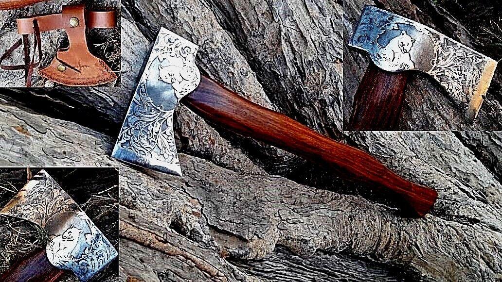 MDM Personalizado grabar Hacha Hacha De Batalla Forjado Vikingo Medieval Genuino Acero barbudo X