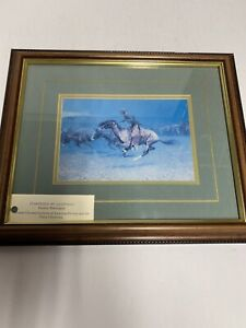 Vintage Frederic Remington Stampeded By Lightning Framed Print