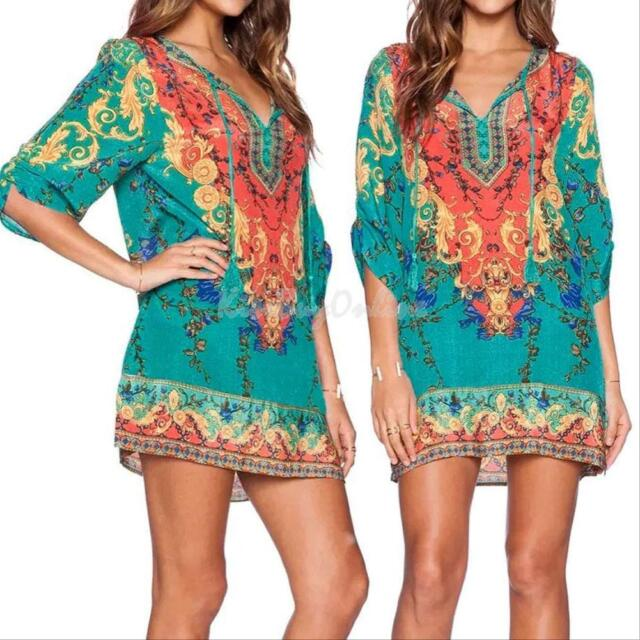 Hippie Boho Dashiki Printed Women Casual Cocktail Club Party Long Top Mini Dress