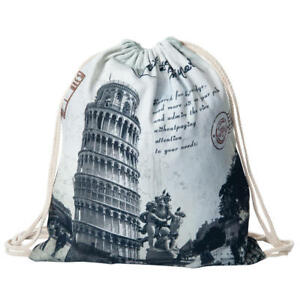 LIVINGbasics® Drawstring Backpack Fabric Print Bag
